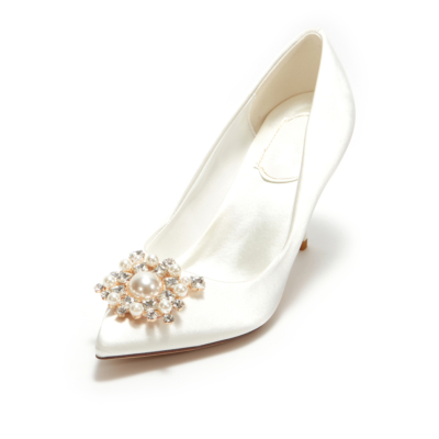 White Satin Heeled Pointy Toe Pearl Crystal Buckle Wedding Pumps