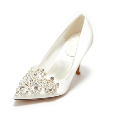 Satin Heeled Pointy Toe Rhinestone Wedding Stiletto Pumps for Women