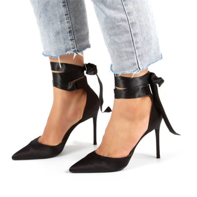 Satin Lace-up D'orsay Pointy Toe Heeled Wedding Pumps