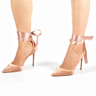 Pink Satin Lace-up D'orsay Pointy Toe Heeled Wedding Pumps