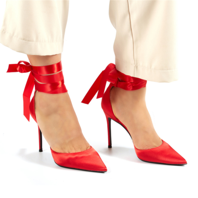 Red Satin Lace-up D'orsay Pointy Toe Heeled Wedding Pumps