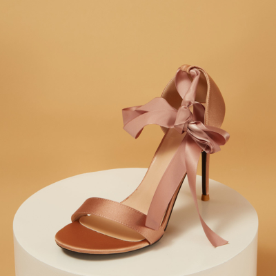 Pink Satin Lace Up Sandals Ankle Wrap High Heels for Wedding