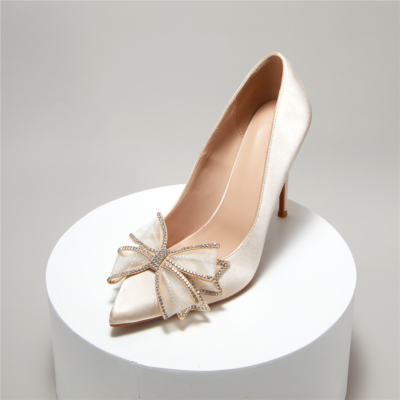 Champagne Satin Crystals Bow Wedding Heels Closed-Toe Stiletto Bridal Shoes