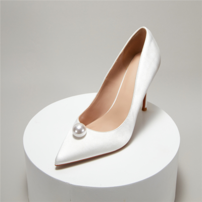 White Satin Pearls Wedding Pumps Closed-Toe Stiletto Bridal Shoes
