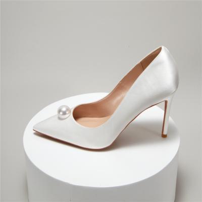 White Satin Pearls Wedding Pumps Closed-Toe Stiletto Bridal Shoes