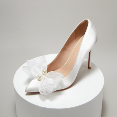 Satin Pearls Bow Wedding Heels Closed-Toe Stiletto Bridal Pumps