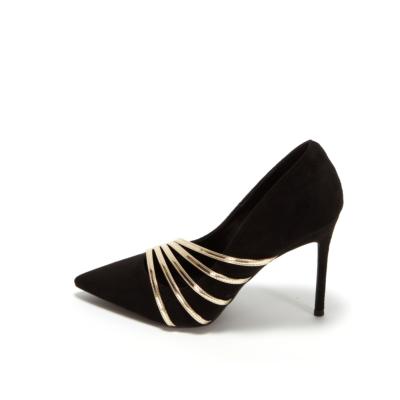 Black Suede Wedding Heels Pointy Toe Stiletto Bridal Evening Pumps