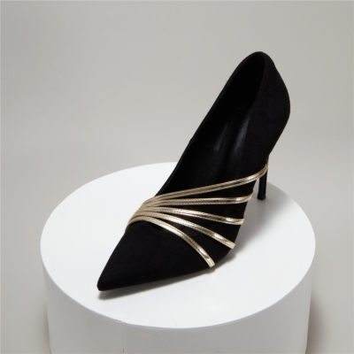 Black Suede Wedding Heels Pointy Toe Stiletto Bridal Evening Pumps