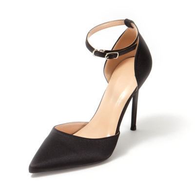 Black Satin Pointed Toe D'orsay Ankle Strap Stiletto Heels Pumps