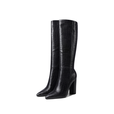 Black Sexy Croc-embossed Pointy Toe High Heel Knee High Boots