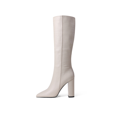 White Sexy Croc-embossed Pointy Toe High Heel Knee High Boots