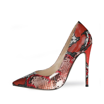 Red Snake Printed Stiletto Pumps Poined Toe 5 inch Heels Work Shoes