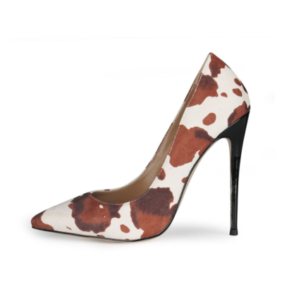 Beige Sexy Cow Printed Stiletto Pumps Poined Toe 5 inch Heels Shoes for Work