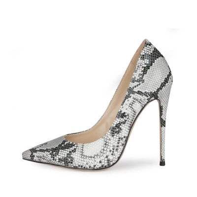 Black Snake Printed Stiletto Pumps Poined Toe 5