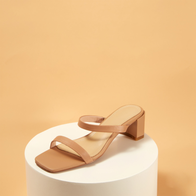 Nude Women's Strappy Chunky Heel Mules Sandals