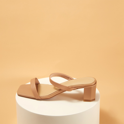 Sexy Women's Strappy Chunky Heel Mules Sandals
