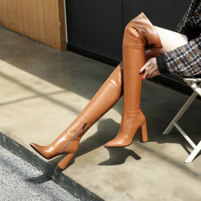 Brown Chunky Heel Zipper Tall Boots Over-the-knee Boots