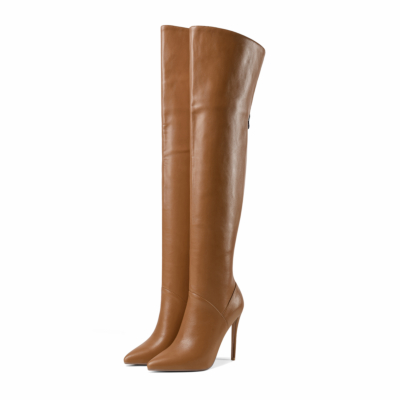 Brown Sexy Heeled Back Zipper Tall Boots Over-the-knee Boots