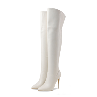 White Sexy Heeled Back Zipper Tall Boots Over-the-knee Boots