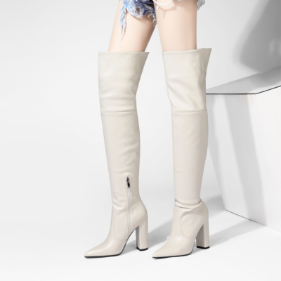 White Chunky Heel Zipper Tall Boots Over-the-knee Boots