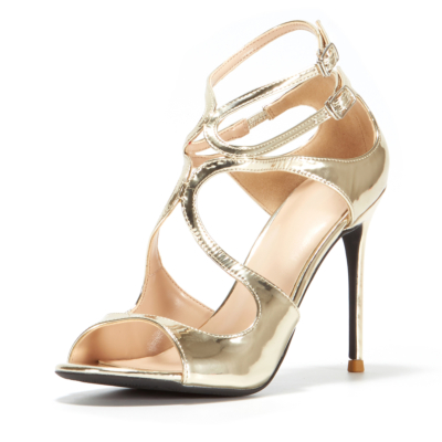 Sexy Metallic Sandals Heels 2021 Hollow Out Buckle Party Sandals