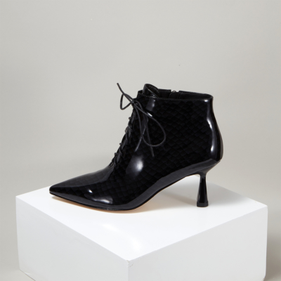Black Sexy Patent Leather Snake-effect Spool Heel Ankle Boots
