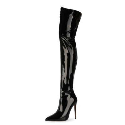 Sexy Patent Leather Zipper Stiletto Thigh High Boots