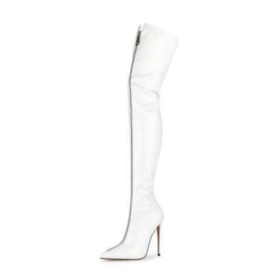 White Sexy Patent Leather Zipper Stiletto Thigh High Boots