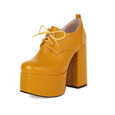 Sexy Platform Loafer Lace Up Chunky Heeled Ankle Boots with Round Toe
