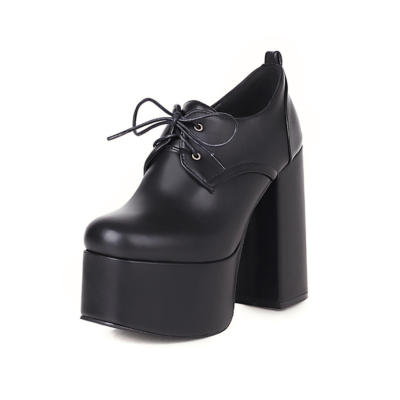 Black Platform Loafer Lace Up Chunky Heeled Ankle Boots with Round Toe