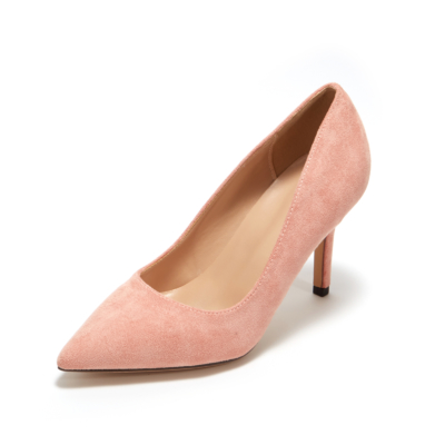 Pink Suede Sexy Pointy Toe Stiletto Heel Womens Dress Shoes Pumps