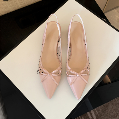 Pink Polka Dot Mesh Slingbacks Shoes Flat Sandals with Bow