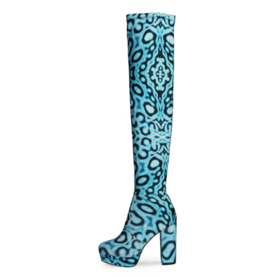 Blue Leopard Printed Chunky Heel Platform Over-the-knee Boots with Round Toe