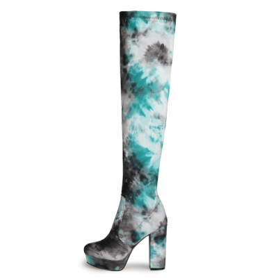 Blue Flower Printed Chunky Heel Platform Over-the-knee Boots with Round Toe
