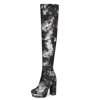 Black Flower Printed Chunky Heel Platform Over-the-knee Boots with Round Toe
