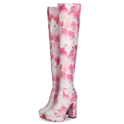 Sexy Printed Chunky Heel Platform Over-the-knee Boots with Round Toe