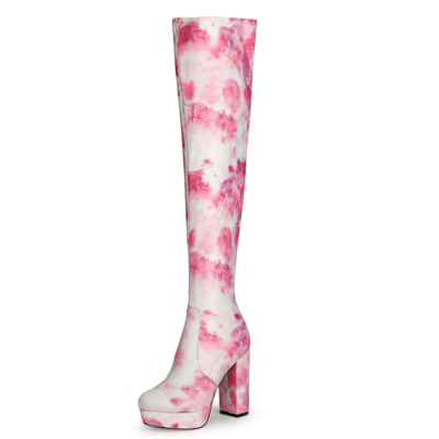 Pink Flower Printed Chunky Heel Platform Over-the-knee Boots with Round Toe