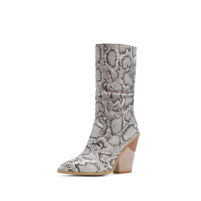 White Sexy Python Embossed Heeled Slouch Booties Knee High Boots