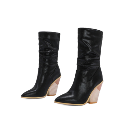 Sexy Python Embossed Heeled Slouch Booties Knee High Boots