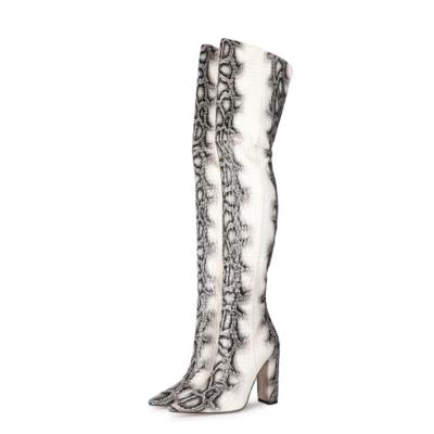 Black&White Python Pattern Block Heel Zip Thigh High Boots