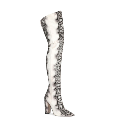 Black&White Python Pattern Block Heel Zip Thigh High Boots