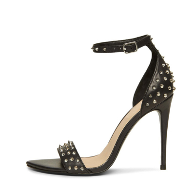 Sexy Rivet Buckle Sandal Heels Open Toe Stiletto Heel Studded Shoes