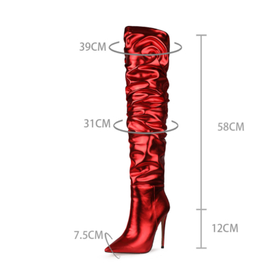 Red Slouchy Pointy Toe High Heel Thigh High Boots