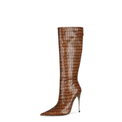 Coffee Snake Print Knee High Boots Metallic Stiletto Heel Boots With Back Zipper