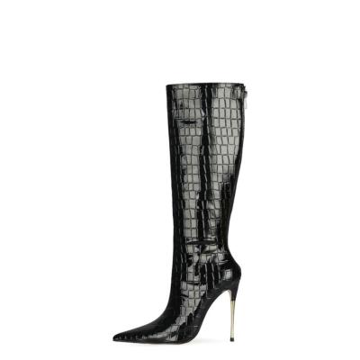 Black Snake Print Knee High Boots Metallic Stiletto Heel Boots With Back Zipper