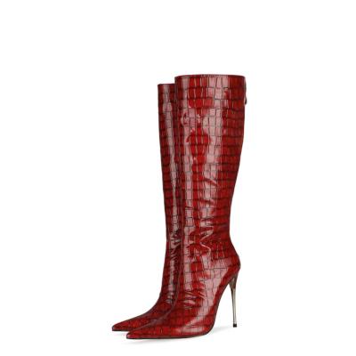 Sexy Snake Print Knee High Boots Metallic Stiletto Heel Boots With Back Zipper