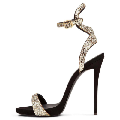 Golden Glitter Stiletto Heel Buckle Ankle Strap Sandals with Open Toe