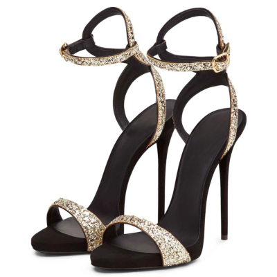 Sexy Stiletto Heel Buckle Ankle Strap Sandals with Open Toe