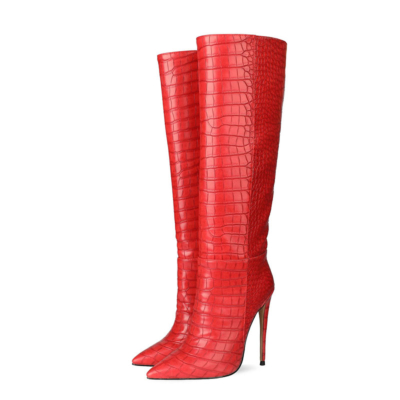 Up2step Red Sexy Woman Croc-Printed Stiletto Heel Knee High Boots