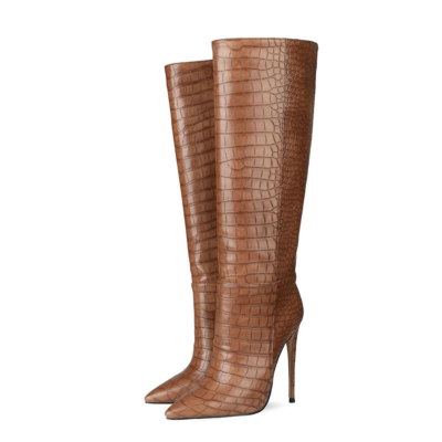 Up2step Brown Sexy Woman Croc-Printed Stiletto Heel Knee High Boots